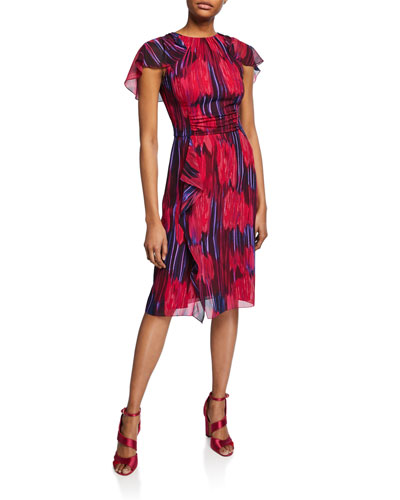 Printed High-Neck Flutter-Sleeve Dress