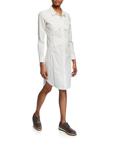 Button-Down Long-Sleeve Shirtdress with Pleating