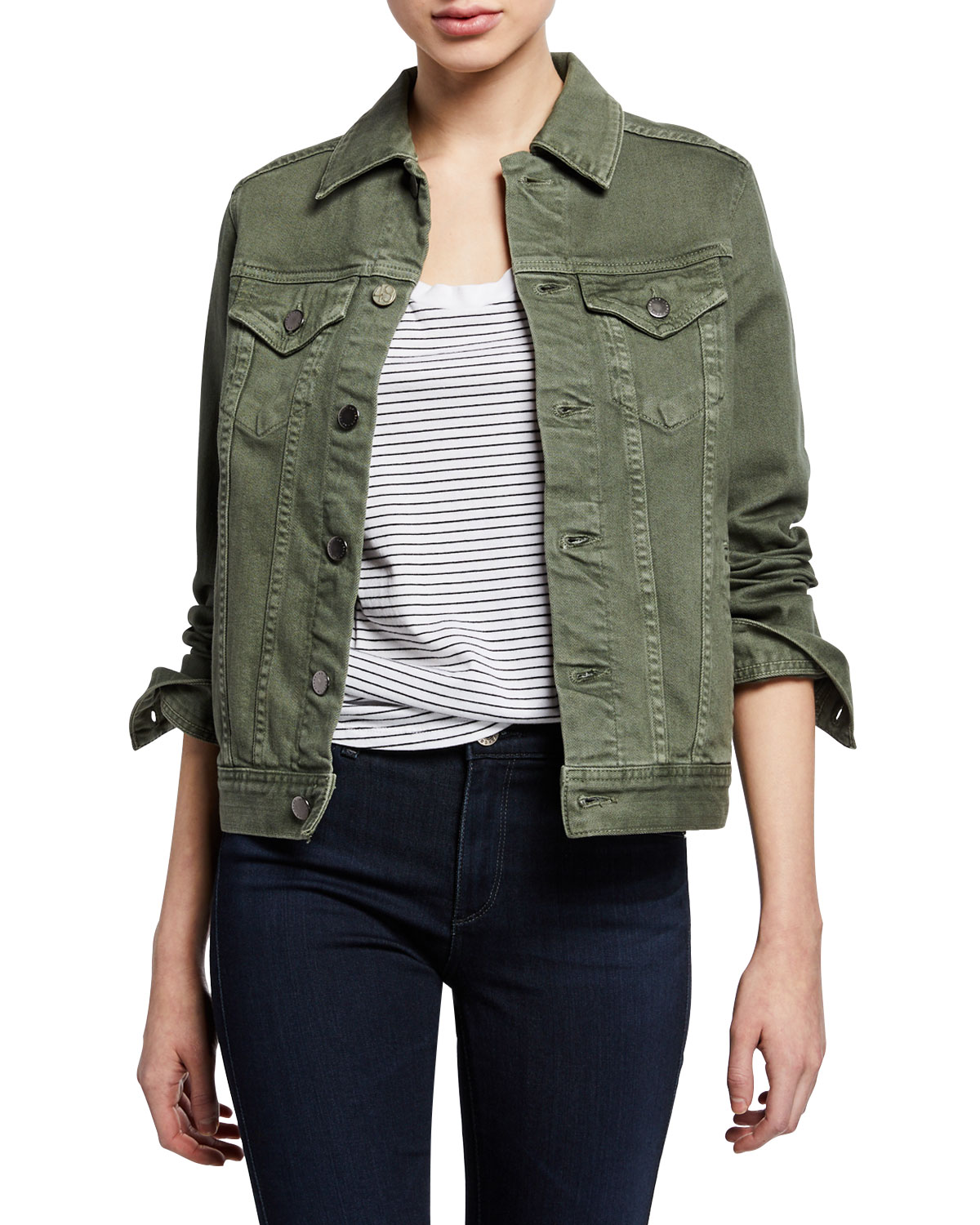 0cf560c945 Ag Mya Button-Front Denim Jacket In Sulfur Ash Green | ModeSens