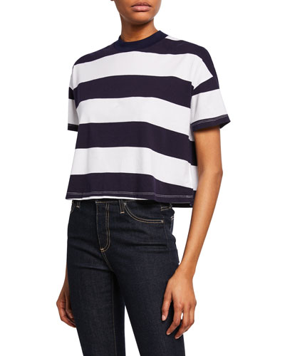 Drew Striped Crewneck Short-Sleeve Cropped Tee
