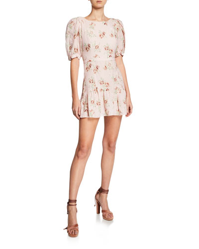 Lena Floral-Print Puff-Sleeve Mini Dress with Bow