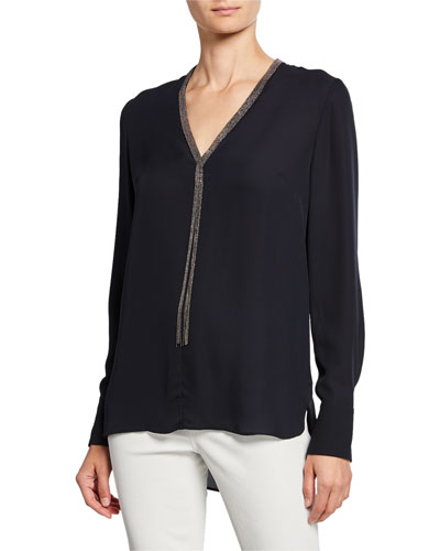 Emara V-Neck Long-Sleeve Blouse w/ Beaded Trim