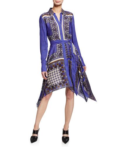 Roxanne Mixed-Print Button-Front Long-Sleeve Dress