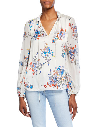Teagan Floral Tie-Neck Long-Sleeve Blouse