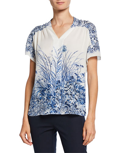 Tiffany Floral-Print V-Neck Short-Sleeve Silk Blouse