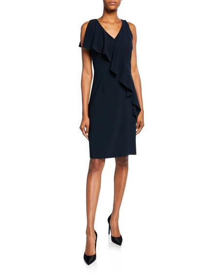 Elie Tahari Kailey V-Neck Sleeveless Draped-Trim Dress