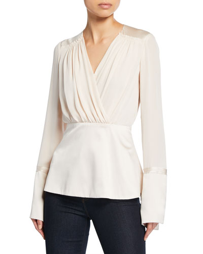 Zina V-Neck Long-Sleeve Silk Blouse