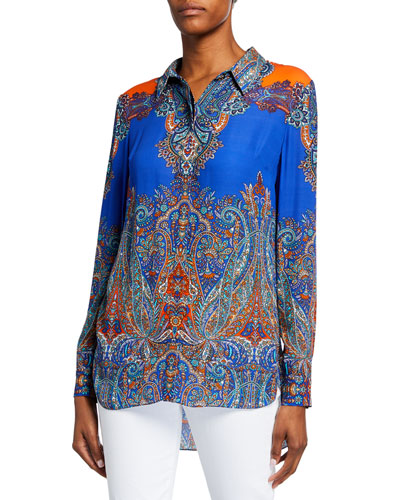 Martha Printed Long-Sleeve Button-Down Blouse