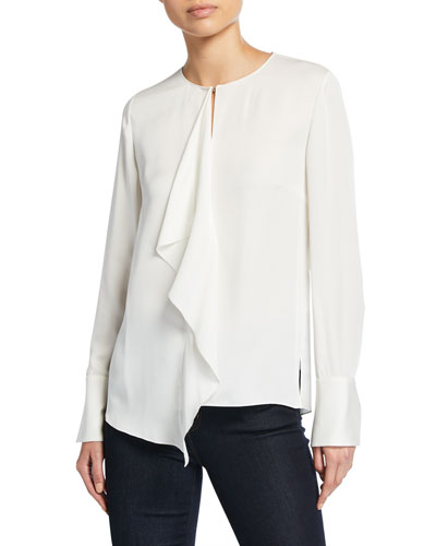 3163f0af2 Keyhole Long Sleeve Blouse | Neiman Marcus