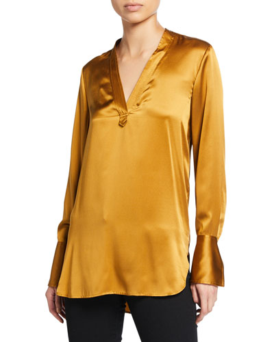 Blaze V-Neck Long-Sleeve Silk Satin Blouse