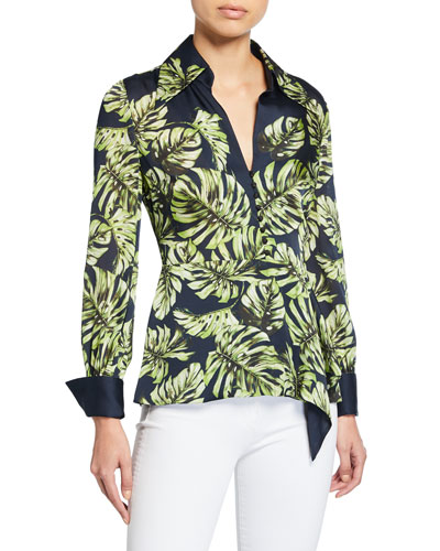 Haylee Leaf-Print Long-Sleeve Silk Blouse