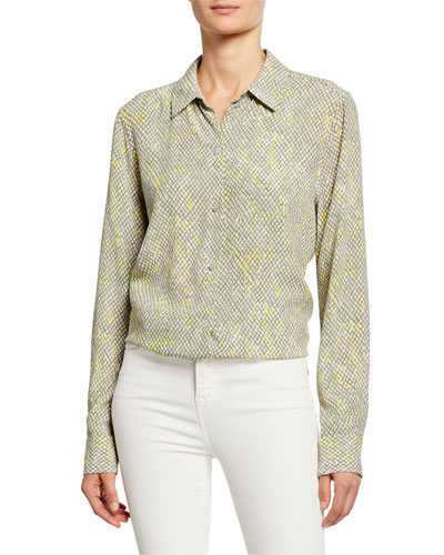 Essential Long-Sleeve Snake-Print Shirt