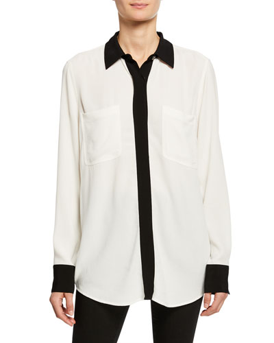 Austine Contrast-Trim Shirt with Pockets