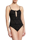 Kisuii Uma Jacquard Ruched-Side Swimsuit