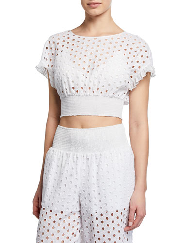 Zoie Eyelet-Embroidered Coverup Crop Top