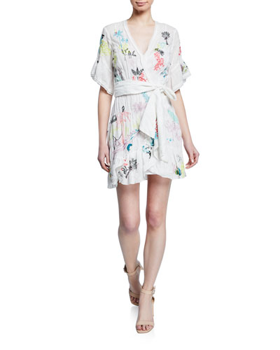 Brandy Floral Embroidered Wrap Dress