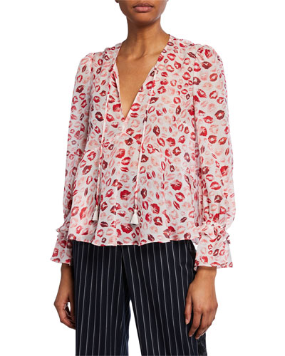 Bria Lip-Print Silk V-Neck Blouse