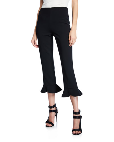 Alena High-Waist Split Ruffle-Hem Pants