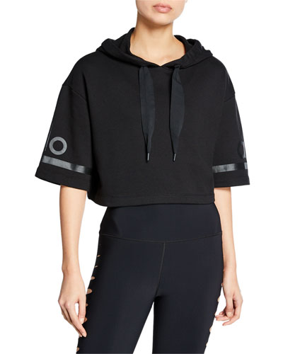 Jersey Cropped Short-Sleeve Pullover Hoodie