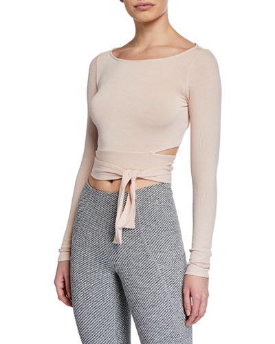 Barre Long-Sleeve Tie-Waist Crop Top