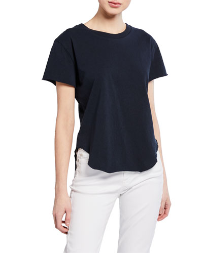 Crewneck Short-Sleeve High-Low Vintage Tee, Navy