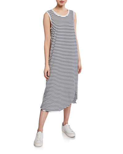 Striped Asymmetric Midi Tank Dress