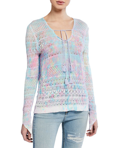 Delvy Knit Tie-Front Long-Sleeve Top