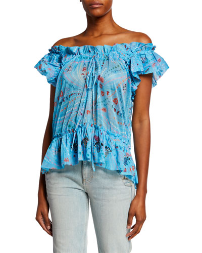 Tutti Off-the-Shoulder Printed Ruffle Top