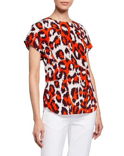Nellie Printed Short-Sleeve Blouse