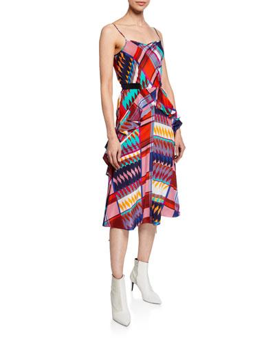 Josie Printed Ruffle Silk Midi Dress