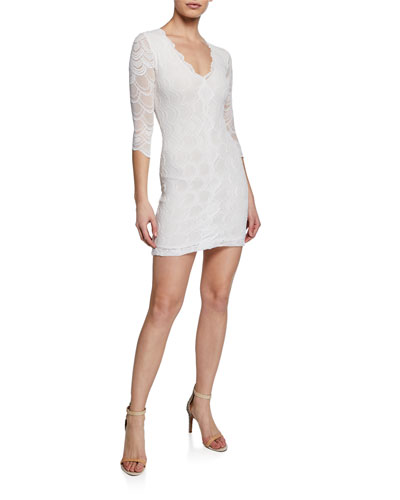 Victorian V-Neck 3/4-Sleeve Lace Mini Dress