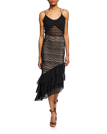Nightcap Clothing Maya Sleeveless Asymmetric Lace Dress