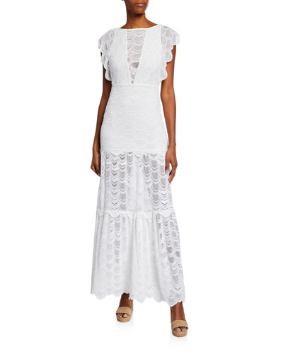 Caletto Victorian Stretch-Lace Maxi Dress