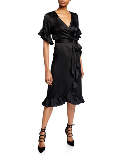 Washed Silk Ruffle Wrap Dress