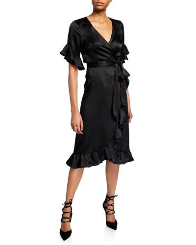 Washed Silk Ruffle Wrap Dress