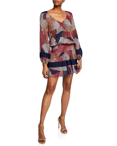 Michaela Printed Long-Sleeve Mini Dress
