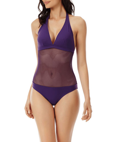 Solid Netted One-Piece Swimsuit