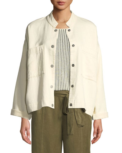 Petite Mandarin Collar Snap-Front Channel Jacket