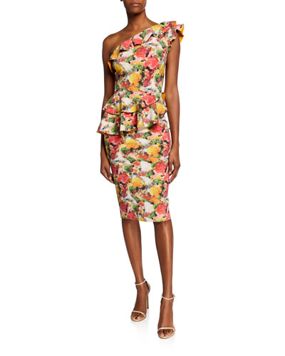 Printed Ruffled One-Shoulder Asymmetric Peplum Dress