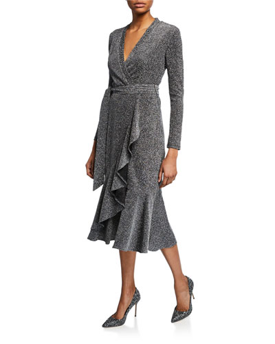 c16636fea29 Quick Look. Elliatt · Lush Metallic Long-Sleeve Wrap Midi Dress