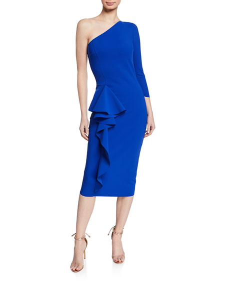 Chiara Boni La Petite Robe One-Shoulder Asymmetric-Ruffle Cocktail Dress