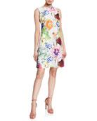 Chiara Boni La Petite Robe Abstract Floral-Print High-Neck