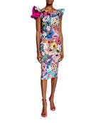 Chiara Boni La Petite Robe Floral-Print Ruffle-Trim U-Back