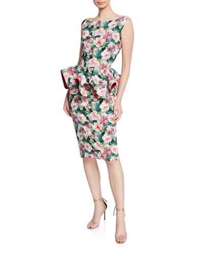Floral-Print Bateau-Neck Sleeveless Peplum Dress