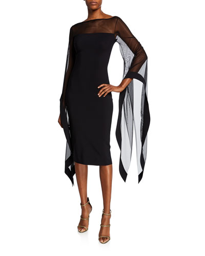 63337fbebea1 Quick Look. Chiara Boni La Petite Robe · High-Neck Sheer Wing-Sleeve  Cocktail Dress. Available in Black