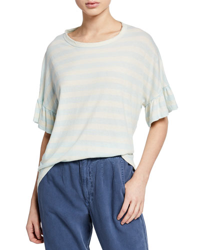 The Ruffle Sleeve Striped Tee