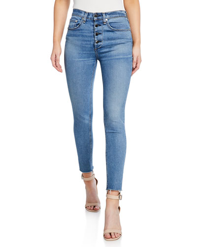 Nina High-Rise Ankle Skinny Fray Jeans