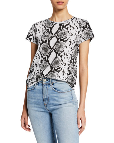 Snake-Print Short-Sleeve Cotton Tee