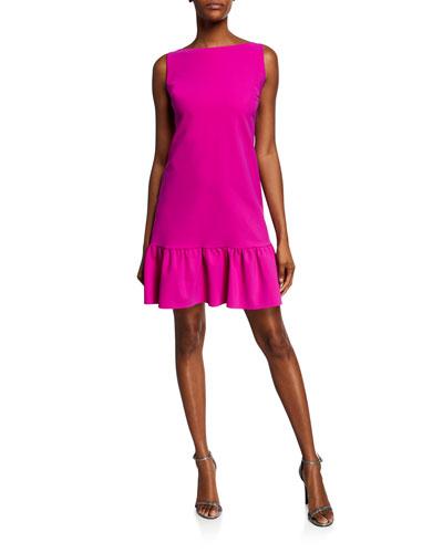 High-Neck Sleeveless A-Line Ruffle-Hem Dress