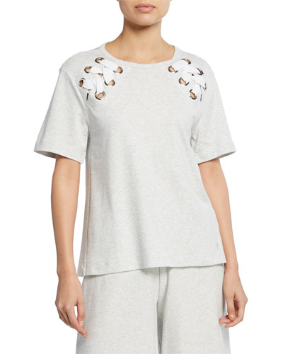 Plus Size Short-Sleeve Cotton Interlock Swing Top w/ Lacing Detail